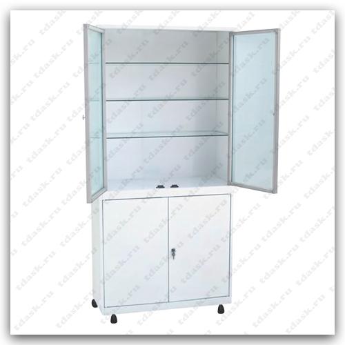 Роял Медикал Трейдинг: шкаф металлический стекло в алюминиевой рамке шмс.02.00 (мод.1) купить в Санкт-Петербурге